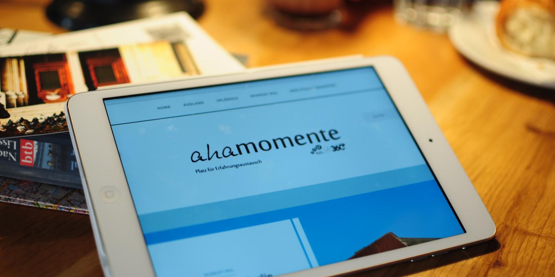 aha Blog wird auf einem Tablet angezeigt