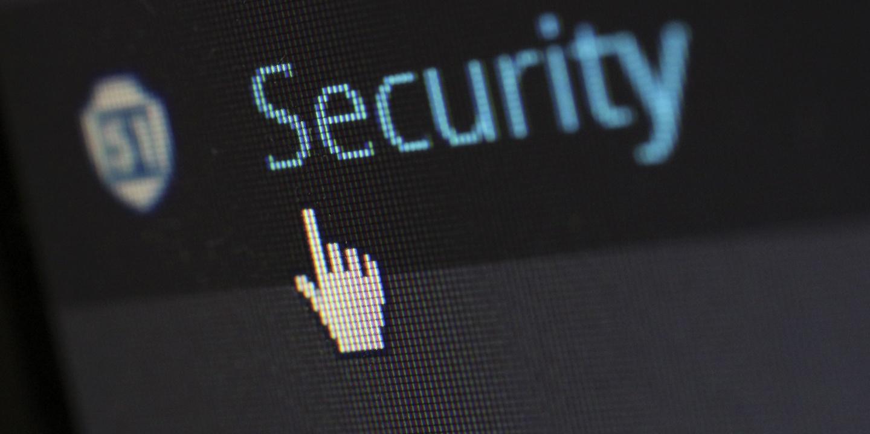 Bildschirm mit dem Wort Security