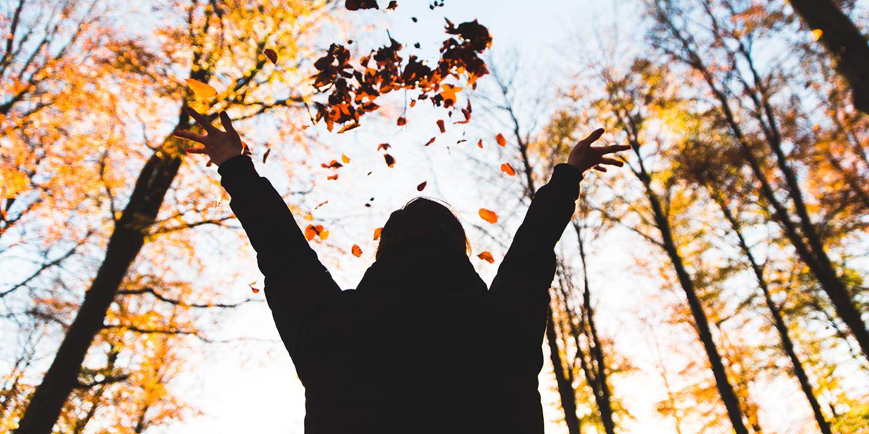 Eine Person im Herbstwald, die Blätter in die Luft wirft.